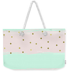 Mint Peach Gold Confetti Stripes Weekender Tote Bag by Ps