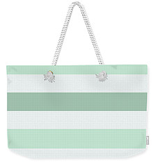 Mint White Stripes Weekender Tote Bag