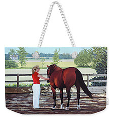 Weekender Tote Bag featuring the painting Mirage Of Wassini by Kenneth  Kirsch
