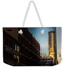 Mirror Reflection Of Peachtree Plaza Weekender Tote Bag