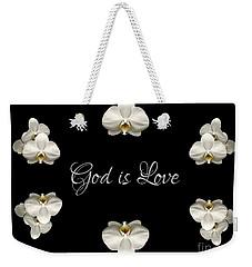 Mirrored Orchids Framing God Is Love Weekender Tote Bag by Rose Santuci-Sofranko