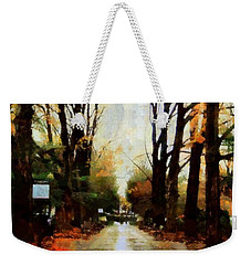 Weekender Tote Bag featuring the photograph Missing You - Rainy Day Park by Janine Riley