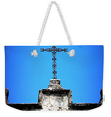 Weekender Tote Bag featuring the photograph Mission Concepcion - Cross by Beth Vincent