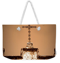 Weekender Tote Bag featuring the photograph Mission Concepcion - Cross - Sepia by Beth Vincent