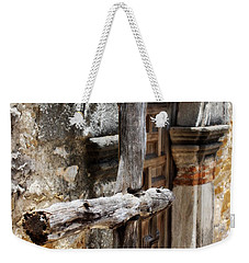 Weekender Tote Bag featuring the photograph Mission Espada - Wooden Cross by Beth Vincent