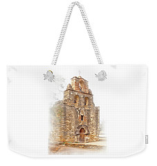 Weekender Tote Bag featuring the photograph Mission San Francisco De La Espada In Faux Pencil Drawing  by David and Carol Kelly