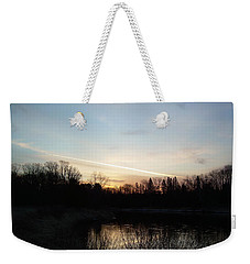 Weekender Tote Bag featuring the photograph Mississippi River Colorful Dawn Clouds by Kent Lorentzen