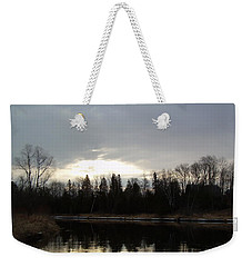 Weekender Tote Bag featuring the photograph Mississippi River Dawn Clouds by Kent Lorentzen