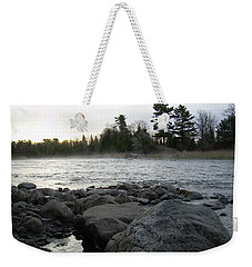 Weekender Tote Bag featuring the photograph Mississippi River Dawn Over The Rocks by Kent Lorentzen