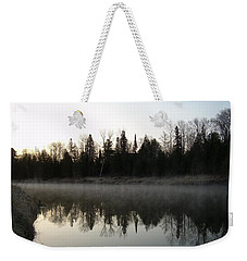 Weekender Tote Bag featuring the photograph Mississippi River Fog Reflection by Kent Lorentzen