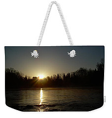 Weekender Tote Bag featuring the photograph Mississippi River Golden Sunrise by Kent Lorentzen