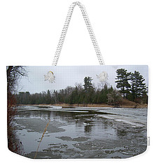 Weekender Tote Bag featuring the photograph Mississippi River Ice Flow by Kent Lorentzen
