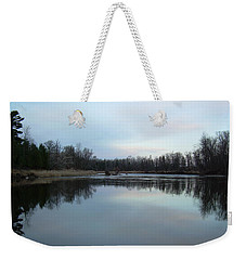 Weekender Tote Bag featuring the photograph Mississippi River Morning Reflection by Kent Lorentzen