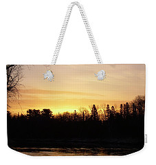 Weekender Tote Bag featuring the photograph Mississippi River Orange Sky by Kent Lorentzen