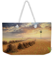 Weekender Tote Bag featuring the photograph Misty Amish Sunrise by Lori Deiter