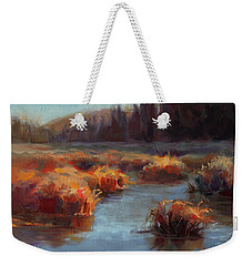Weekender Tote Bag featuring the painting Misty Autumn Meadow With Creek And Grass - Landscape Painting From Alaska by Karen Whitworth