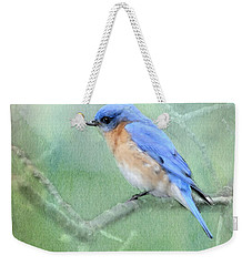 Weekender Tote Bag featuring the photograph Misty Blue by Betty LaRue