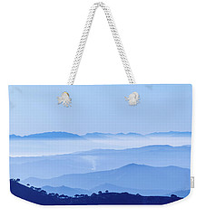 Weekender Tote Bag featuring the photograph Misty Blue Mountain Panorama by Geoff Smith