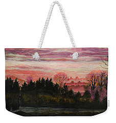 Weekender Tote Bag featuring the painting Misty Evening On Ernie Lane by Ron Richard Baviello