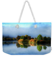Misty Fall Colors On The River Weekender Tote Bag