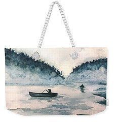 Weekender Tote Bag featuring the painting Misty Lake by Lucia Grilletto