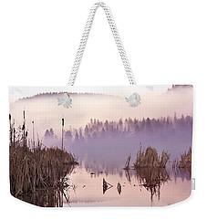 Misty Morning At Vaseux Lake Weekender Tote Bag by John Poon