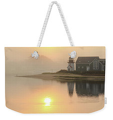 Weekender Tote Bag featuring the photograph Misty Morning Hyannis Harbor Lighthouse by Roupen  Baker