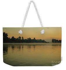 Misty Morning Lake Weekender Tote Bag