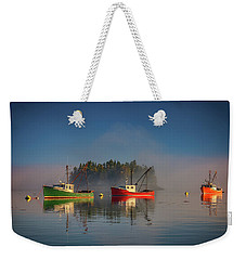 Weekender Tote Bag featuring the photograph Misty Morning On Johnson Bay by Rick Berk