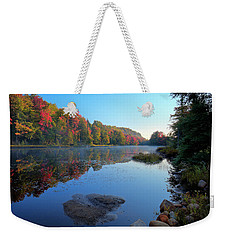 Weekender Tote Bag featuring the photograph Misty Morning On The Pond by David Patterson