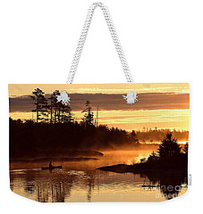 Weekender Tote Bag featuring the photograph Misty Morning Paddle by Larry Ricker