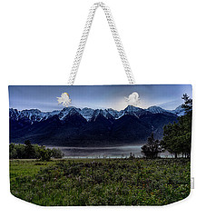 Weekender Tote Bag featuring the photograph Misty Mountain Morning Meadow  by Darcy Michaelchuk