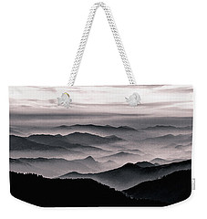 Weekender Tote Bag featuring the mixed media Misty Mountain Noir by Susan Maxwell Schmidt