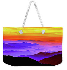 Weekender Tote Bag featuring the mixed media Misty Mountains Sunset by Susan Maxwell Schmidt