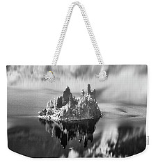 Weekender Tote Bag featuring the photograph Misty Phantom Ship Island Crater Lake B W  by Frank Wilson
