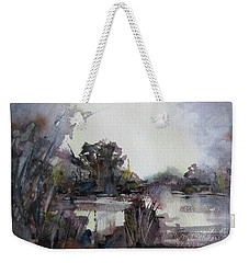 Weekender Tote Bag featuring the painting Misty Pond by Geni Gorani