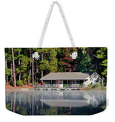 Weekender Tote Bag featuring the photograph Misty Reflection At Durant by George Randy Bass
