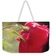 Weekender Tote Bag featuring the photograph Misty Rose Reflections by Elaine Teague