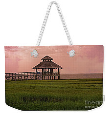 Weekender Tote Bag featuring the photograph Misty Sunrise At Look Out Point by Ella Kaye Dickey