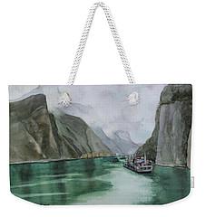 Weekender Tote Bag featuring the painting Misty Voyage by Kris Parins