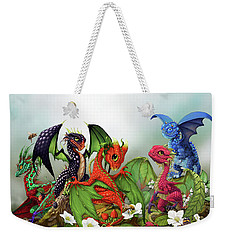 Weekender Tote Bag featuring the digital art Mixed Berries Dragons by Stanley Morrison