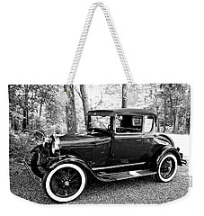Weekender Tote Bag featuring the photograph Model A In Black And White by Trina Ansel