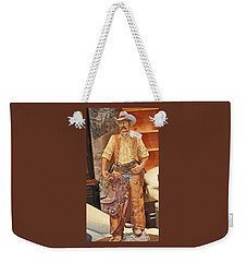 Weekender Tote Bag featuring the photograph Model Of Western Cowboy by Jay Milo