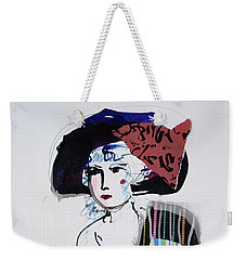 Model With Fashion Hat And Chawl Weekender Tote Bag