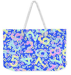 Modern Design With Random Colorful Numbers With Shadow Edges On A Blue Background  Weekender Tote Bag