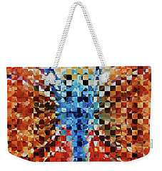 Weekender Tote Bag featuring the painting Modern Dragonfly Art - Pieces 6 - Sharon Cummings by Sharon Cummings