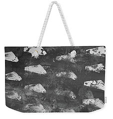 Weekender Tote Bag featuring the painting Modern Fossil Grayscale by Robin Maria Pedrero