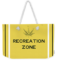 Weekender Tote Bag featuring the mixed media Modern Recreation Zone Sign- Art By Linda Woods by Linda Woods