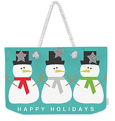 Modern Snowmen Happy Holidays- Art By Linda Woods Weekender Tote Bag