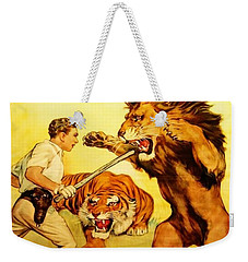 Weekender Tote Bag featuring the digital art Modern Vintage Circus Poster by ReInVintaged